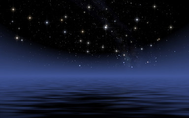Calm sea in starry night