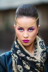 Gorgeous woman face . outside shot