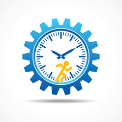 Man running with time concept stock vector