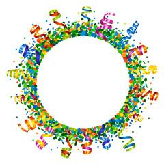 Confetti and serpentine round frame