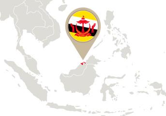 Brunei on World map