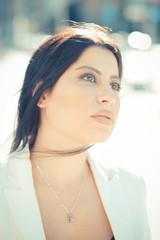 beautiful long black hair elegant business woman