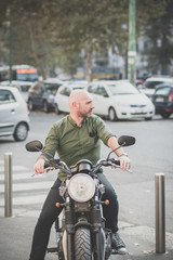 handsome middle aged man motorcyclist