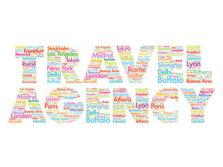 TRAVEL AGENCY concept made with words cities names, vector