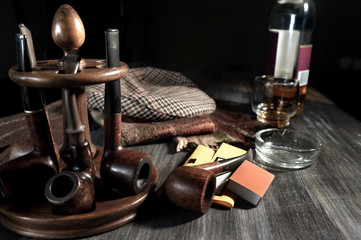 Retro style composition with vintage items on table
