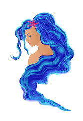 Portrait of a mermaid with long blue hair