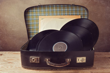 Vintage suitcase with old music records