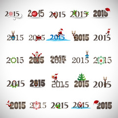 ***2015*** Christmas Icons And Elements Set - Isolated On Gray