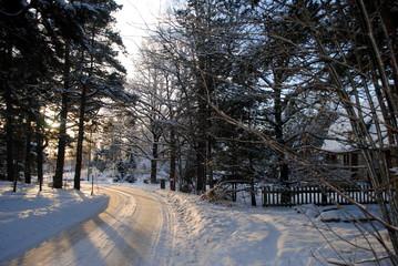 verschneite Dorfstraße