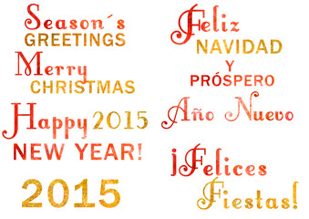 Watercolor Christmas and New Year lettering; English and Spanish