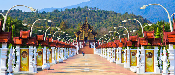 Ho Kham Luang temple in Chiangmail province of Thailand