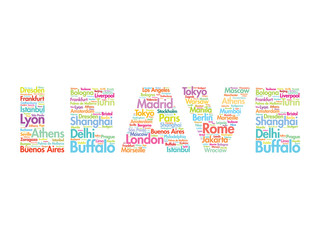 LEAVE text relocation concept made with words cities names