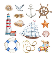 Set of a watercolor nautical illustrations