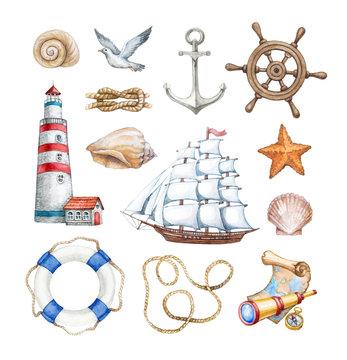 Set of a watercolor nautical illustrations