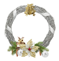 silver Christmas wreath isolated on the white background
