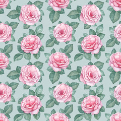 Watercolor pattern with rose illustrations
