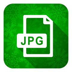 jpg file flat icon, christmas button