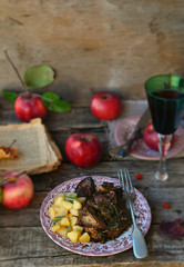 fried chicken liver with apples