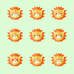 Vector minimalistic flat lion emotions icon set
