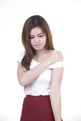 Woman has shoulder pain