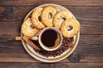 Plate with coffee and cookies