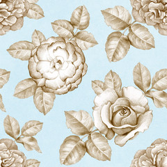 Seamless pattern with pencil drawings of flowers