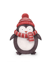 Watercolor illustration of penguin