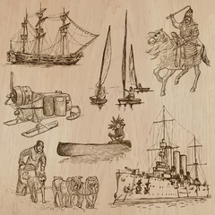 Transport no.9 - Pack of  hand drawn illustrations