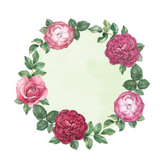 Watercolor floral frame. Perfect for greeting card or invitation