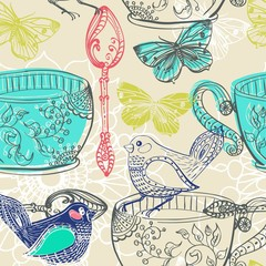 Tea time illustration with flowers and bird, seamless pattern