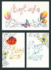 Watercolor floral card collection