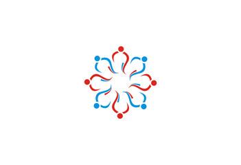 diversity people symbol circle flower logo