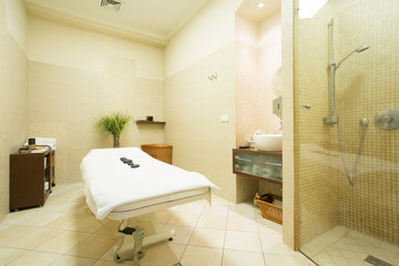 Massage room in wellness center