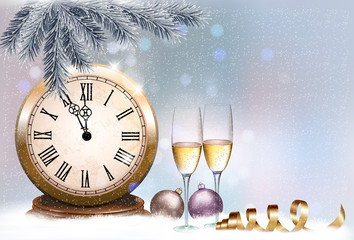 Holiday retro background with champagne glasses and clock. Happy