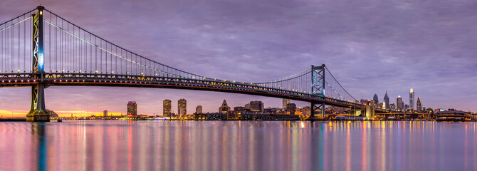 Wall Mural - Ben Franklin bridge and Philadelphia skyline