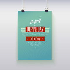 Poster hanging with birthday greetings.