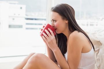 Pretty brunette sitting on floor with mug