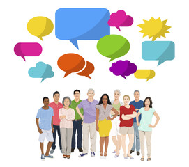 Multi-Ethnic Group of People and Speech Bubbles
