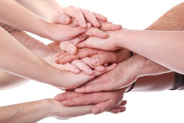 übereinanderliegende Hände