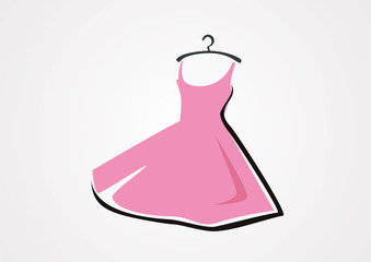 Dress fashion logo shopping vector