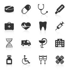 Set of medical icons on white background