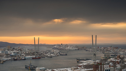 Vladivostok cityscape, sunset. Winter.