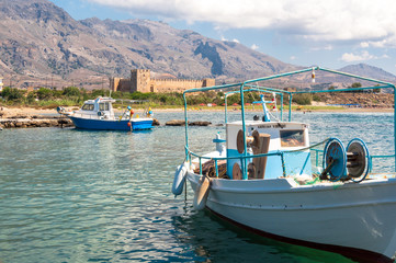 Fishing boats in front of the venetian Fortress Frangokastello