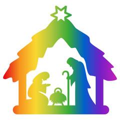 Weihnachtskrippe, Krippenfiguren, Regenbogenfarben, Vektor