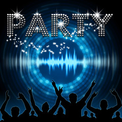Party poster blue graphic digital sound