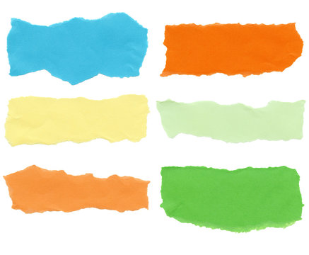 Collection of color paper tears