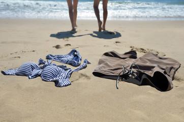 Couple swim naked