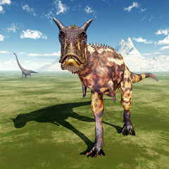 The Dinosaurs Carnotaurus and Mamenchisaurus