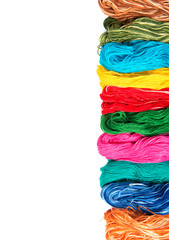 embroidery thread skeins of different colors