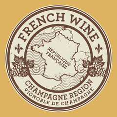 Grunge rubber stamp with words French Wine, Champagne Region